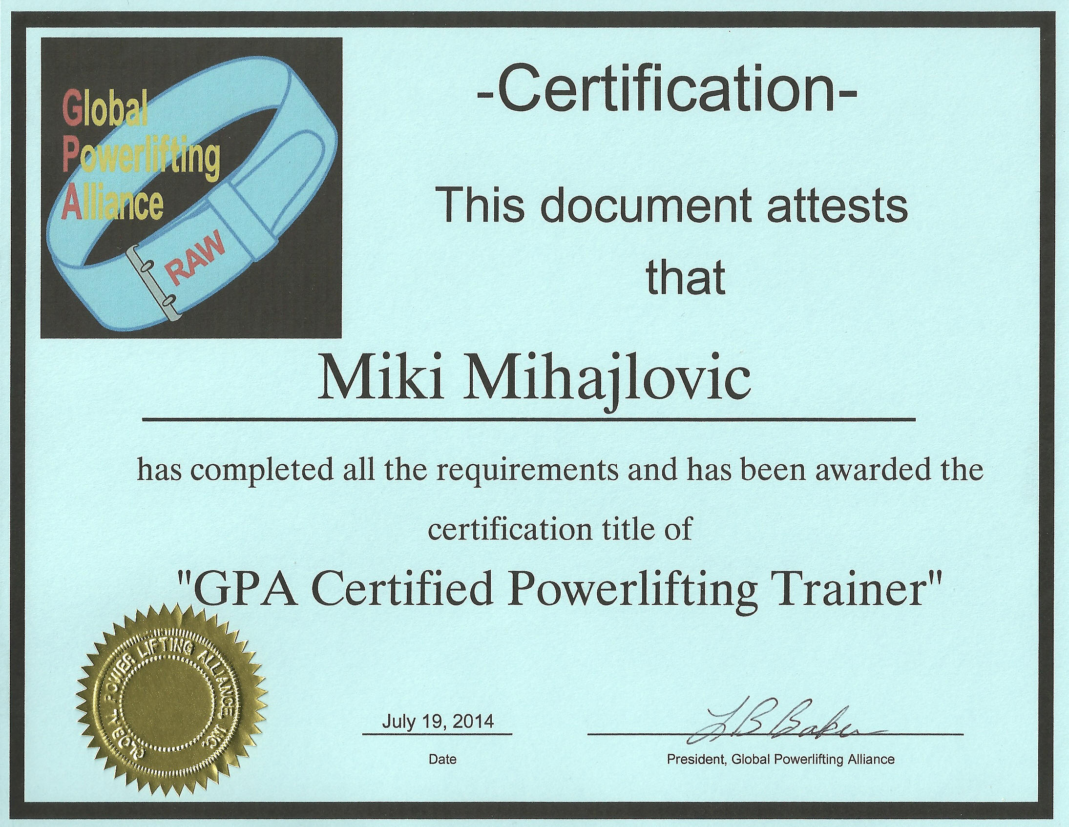 Certified Powerlifitng Trainer